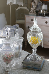 My Crystal Jar Collection (Romantic Home) Tags: crystal candyjar shabbychic apothecaryjar