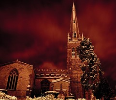 Night-time Snow... (Chris H#) Tags: longexposure red snow church northamptonshire freezing nighttime redsky remotecontrol stmaryschurch s3000 rushden nighttimesnow itwasbloodycold 3degreesc nikond5000 nikor1855kitlens