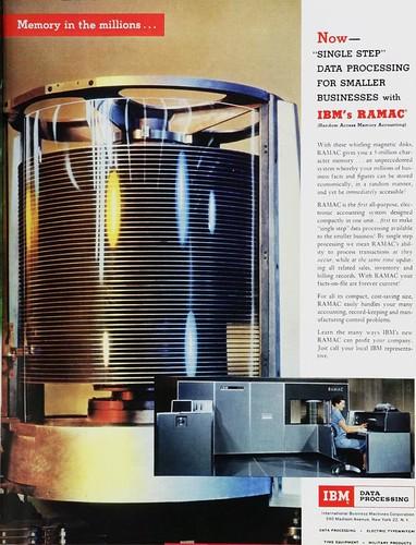 IBM RAMAC, el primer ordenador comercial con disco duro de cabeza móvil (1957)
