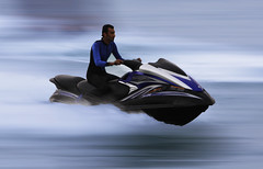 Panning (MJ ) Tags: blue sea sky sports sport speed canon eos jet fast yamaha fx panning ef doha qatar 2010 cornish jetsky ef75300mm 40d