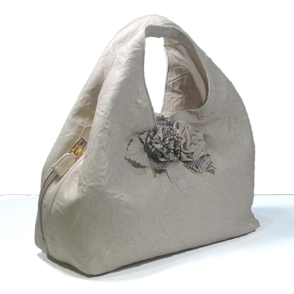 Paolo Masi Italian Leather Double Handed Fl Line Handbag Beige