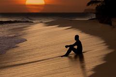 DOVER BEACH - BARBADOS (mark_rutley) Tags: sunset sea sun man beach sand waves tide barbados silhoutte