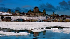 """ JE ME SOUVIENS"" (Marie.L.Manzor) Tags: quebec canada chateaufrontenac history river saintlaurent winter ice sky clouds morning sunrise seascape water reflection snow banksofsnow city building cityscape 1000favs 1000favorites"