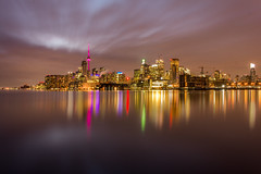 Toronto city landmark. (Tiến_SaiGon) Tags: landscape landmark night nightscape longexposure light city towers building lake water reflaction sky