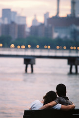 anticipating fireworks......... (~RichArtpix~) Tags: love bokeh manhattan streetphotography younglove couples romance newyorknewyork williamsburgh manhattanview bestofnyc twoheartsonelove celebratinghumanity richartpix