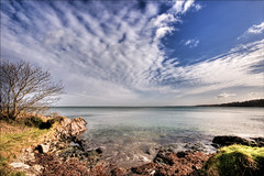 Clouds over beach (Etrusia UK) Tags: uk trees sea sky beach water clouds geotagged landscapes nikon rocks unitedkingdom wideangle northernireland ni 1020mm hdr pictureperfect ulster d300 codown blueribbonwinner sigmalens photomatix crawfordsburncountrypark 1020mmlens 5xp bej sigma1020mmlens diamondclassphotographer flickrdiamond theunforgettablepictures platinumheartaward nikond300 distinguishedhdr geo:lat=546706469948 geo:lon=572979345805