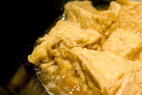Shrimp Stuffed Tofu (in wok)