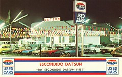 Escondido Datsun, Used Car Lot, Escondido, CA (aldenjewell) Tags: ca postcard dealership datsun escondido carshowroom