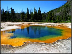 Emerald Pool,  Yellowstone National Park, Wyoming (moonjazz) Tags: blue sky color reflection green nature pool yellow warm roadtrip highlights best yellowstonenationalpark geography wyoming geology thermal emerald important theunforgettablepictures colourartaward
