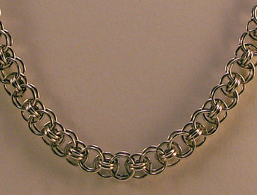 Silver Plated Helms Chainmaille Necklace With S Clasp
