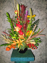"#05ED $100 as shown Stylized arrangement with roses, lucedendron, gladiolas, sunflowers, a variety of foliages, and berries. • <a style=""font-size:0.8em;"" href=""http://www.flickr.com/photos/39372067@N08/3725601484/"" target=""_blank"">View on Flickr</a>"