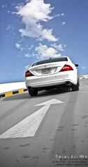 CLS 350 (Talal Al-Mtn) Tags: blue sky white yellow clouds canon lens mercedes day shot gray class line m motor kuwait 500 v8  amg v6 xsi cls q8 v12 cls500 kwt cls350 450d mercedesbenzcls clsamg talalalmtn