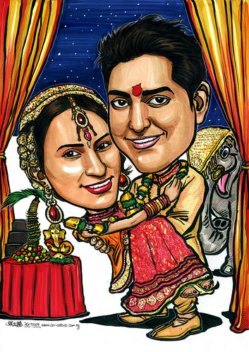 Indian wedding couple caricatures A4