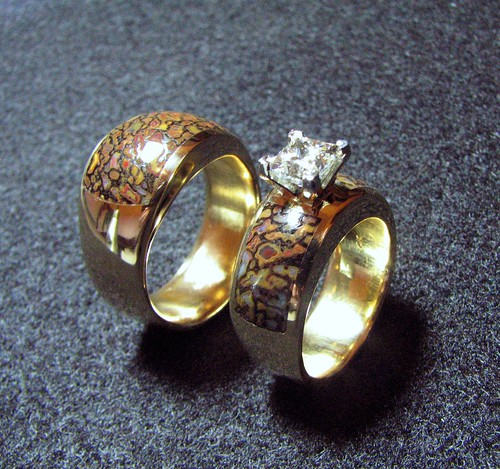 14k Gold Gembone Wedding Set