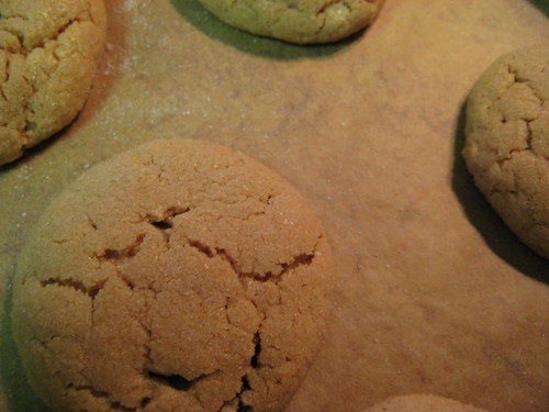 baked peanut butter cookies on baking sheet