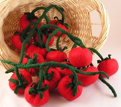 Bunch of Cherry Tomatoes (GoBuggyGo) Tags: red tomatoes felt cherrytomatoes fakefood fauxfood feltfood tomatoesonvine gobuggy