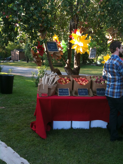Apple tree with paper bag flowers