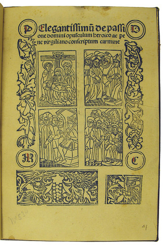 Woodcut illustrations on title page from Vallibus, Hieronymus de: Jesuida seu De passione Christi