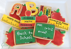 Back to School Cookies (Glorious Treats) Tags: apple cookies letters books teacher ruler backtoschool bittenapple chalkborad applecookies