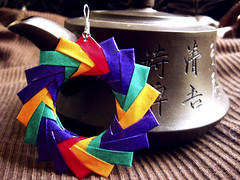 Origami Pendant - Fiesta (umeorigami) Tags: red orange purple emeraldorigamichiyogamipendantjewelrycrafthandmadeetsy