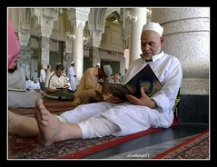 Reading Al-Quran inside the Mosque (Azmi Bogart) Tags: saudi arabia ramadhan mecca mekah makkah mekkah