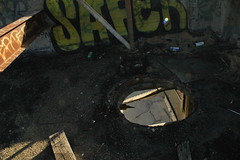 DSC_2908 (LesserGods) Tags: sanfrancisco old brick graffiti earthquake industrial homeless demolition forgotten urbanexploration hunterspoint bayview tuna cannery wasteland caltrans abandonedbuildings condemed scrappers lessergods isliascreek apaladini lessergodsphotostream