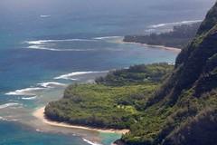 Sparkling Waters (SF knitter) Tags: ocean hawaii paradise kauai beaches reefs keebeach tunnelsbeach andchickens fromthehelicopter vanagram bluehawaiiantours