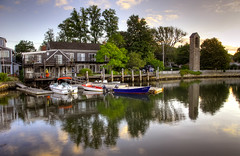 Reflections on Eel Pond (slack12) Tags: sunrise reflections boats woodshole mbl hdr eelpond superaplus aplusphoto masachesetts