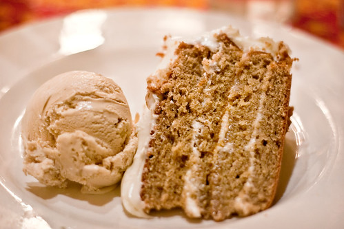 Buttermilk Spice Cake with Cream Cheese Frosting and Maple Walnut Ice Cream