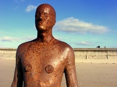 Beautiful bronzy (* RICHARD M (Over 6 million views)) Tags: england art metal bronze liverpool seaside artwork sand rust iron britain statues ironman waterloo beaches sculptures antonygormley merseyside sefton anotherplace promenades