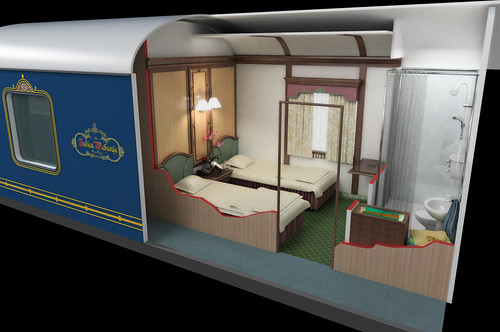 The Indian Maharaja, Deccan Odyssey - 3-D graphic of Deluxe cabin