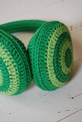 Crocheted  earwarmer 'Going Green' (Studio SOIL) Tags: winter green design handmade crochet mint craft cotton own haken croch earwarmers hakeln