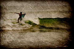Surfer in Kuta (Mikenessmonster) Tags: travel bali texture beach water photoshop indonesia nikon surf wave surfing kuta d90