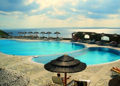 Superb pool and views beyond the spectacular at the Royal Myconian Hotel in Mykonos, Greece ( October 2009 ).