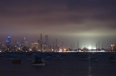 Melbourne at night (Allan Saw) Tags: night boats bay smog melbourne yachts