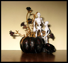 Black Pumpkin with Skeletons (Golden Unicorn Miniatures) Tags: flowers autumn plants plant halloween floral miniatures miniature pumpkins mini skeletons florals props prop dollhouse dollshouse onesixthscale peterstone modelhorse onetwelfthscale horseprop goldenunicornminis goldenunicornminiatures oneninthscale