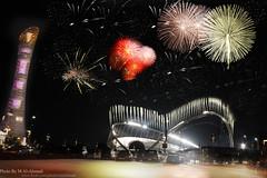 Khalifa Stadium Qatar قطر-استاد خليفــة (MJ ♛) Tags: night canon eos efs1855mm firework filter khalifa 1855mm 1855 efs doha qatar aspire خليفة قطر الدوحة stadum nd4 استاد 40d اسباير flickrcubismaward