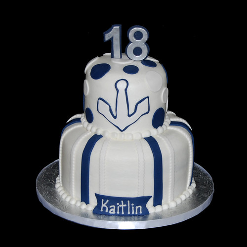 blue and white nautical themed 18th birthday cake
