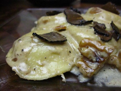 Raviolis with Walnut-Truffle Cream Sauce