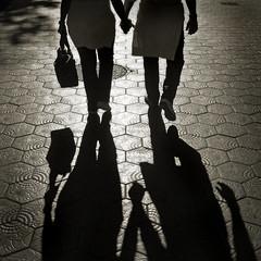 Spain - Barcelona - Eixample - Couple walking - sq sepia