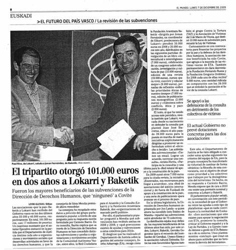 Reportaje de El Mundo sobre las subvenciones de Lokarri