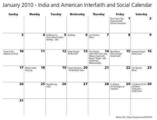 Interfaith and Secular Calendar - India and America Holidays January 2010