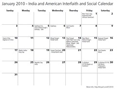 Interfaith and Secular Calendar - India and America Holidays January 2010 (Jennifer Kumar) Tags: india america holidays calendar social kerala celebrations jewish africanamerican sikh hindu tamil vasant pongal interfaith kwanzaa sabaraimala