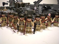 WWII-era US-American Allied Infantry (v2) (PhiMa') Tags: lego wwii ww2 medic worldwar2 riflemen allies shermantank deuceandahalf willysjeep m3halftrack gmccckw submachinegunners
