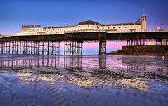 Brighton Pier + Moonset + Dawn + Perigean Spring Tide = (Pepeketua) Tags: uk england moon reflection beach canon dawn pier spring brighton tide reflexion 1022mm hdr moonset maree 3xp 13mm 400d exceptionnelle dphdr hdraward perigean CPSNZ:Award=acceptance