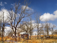 The Curious Case of The Golden Doors (Uncle Phooey) Tags: blue winter sky abandoned clouds rural cabin little decay small scenic scene explore missouri ozarks hdr ruraldecay southwestmissouri sagegrass goldendoors ozarkcounty unclephooey thegoldendoorway scenicmissouri