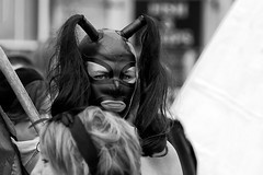 Brighton Pride 2012 (Sean Sweeney, UK) Tags: brighton pride leather gimp mask black white bw monochrome nikon d60 dslr bondage stare eyes candid street
