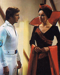 Gil Gerard and Julie Newmar on the set of Buck Rogers in the 25th Century (1979) (Tom Simpson) Tags: buckrogers buckrogersinthe25thcentury julienewmar actress vintage scifi sciencefiction flightofthewarwitch 1979 1970s television tv vintagetelevision gil gerard gilgerard