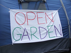Open Garden Tent Banner (dkhlucy) Tags: uk vegetables norfolk funday activity eco involvement climatechange helping permaculture dayout peakoil kingslynn gardendesign 5thjuly environement opengarden transitionmovement transitionkingslynn thewalkspark