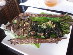 Pagolac in San Francisco - Course 4,5,6: skewered beef, onions wrapped beef, hawaiian leaf beef
